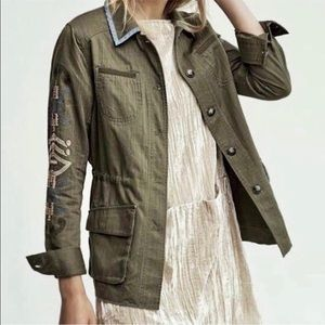Anthropologie Green Embroidered Utility Jacket, XS